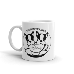 boston terrier tea party mug