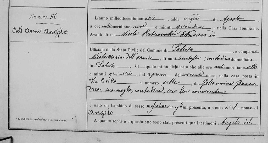 Angelo Birth Certificate 1
