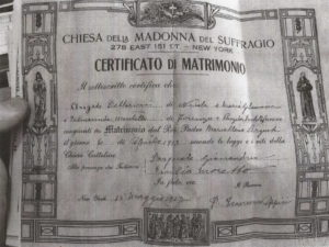 Angelo and Palmiranda Marriage Certificate 1913
